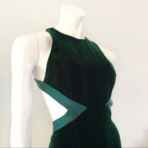 Vintage 1980's Dark Green Velvet Open Back Gown